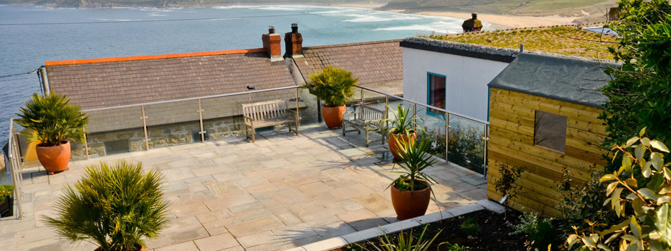 Patio at Pendrean Cottage, Sennen Cove